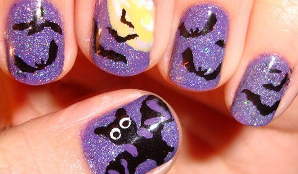 nail art pipistrello halloween